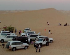 Car parking area in the desert